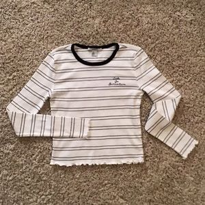 Forever 21 white and black striped shirt